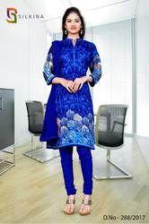 Dark Blue Silk Georgette Uniform Salwar Kameez