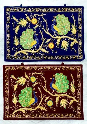Velvet Embroidery Peacock Hanging