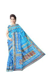 All Over Sky Blue Color Fancy Design Work Art Silk Bandhani Saree