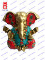 Lord Ganesh W/4 Arms & Stone Wire Bead Statue