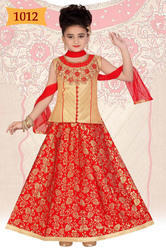 Girls Traditional Red Golden Lehenga Choli