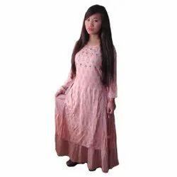Pink Printed Designer Gown