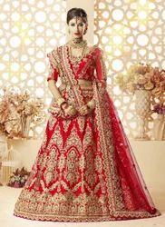 Satin Silk Heavy Embroidery Work Lehenga Choli for Women