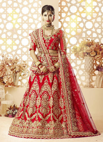 7191a72640 Satin Silk Heavy Embroidery Work Lehenga Choli For Women, Rs 6365 ...