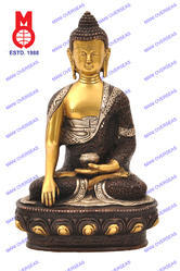 Buddha Sitting Sakyamuni With Deer On Base Statue