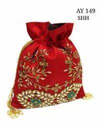 Embroidered Rawsilk Designer Potli Bags AY 149