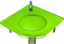 Green Glass Corner Wash Basin Set