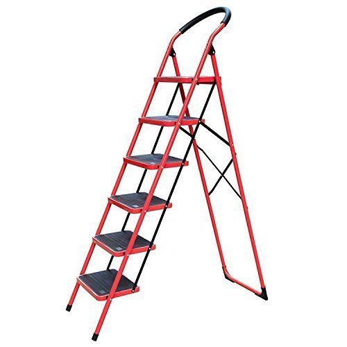 Red With Black 6 Step Iron Ladder