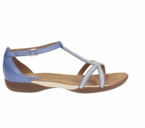 7dd4c0ec78ae Clarks Women Raffi Star Blue Leather Sandal