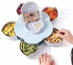 Rotating Dry Fruit Box Five Compartments Flower Candy Box ServingCandy, Chocolate, Snacks Storage