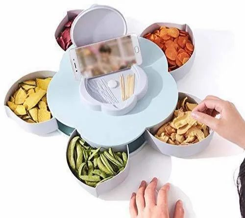 Rotating Dry Fruit Box Five Compartments Flower Candy Box ...