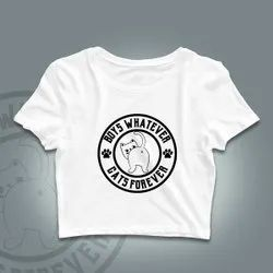 Crop Top Printed T-Shirts for Girls - Boys Whatever Cats Forever.