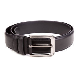 Black Formal Leather Belt, Size: Small