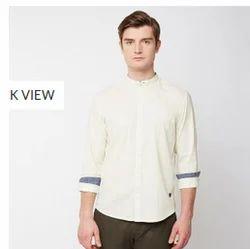 Yellow 01 Solid Slub Full Sleeve Trim Fit Shirt