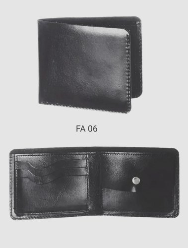 Bi Fold Black Natural Leather Wallets