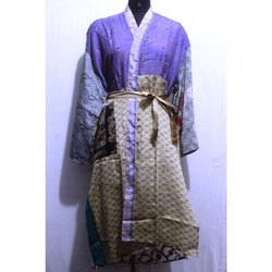 Women's Silk Sari Patchwork Long Kimono Bath Robe Dress
