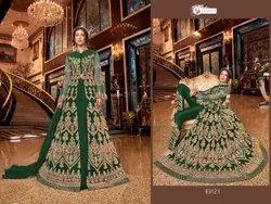 Swagat Unstitch Designer Net Party Wear Embroidered Anarkali Suit, Dry Clean