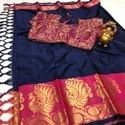 Latest Cotton Silk Sarees With Stiched Blouse