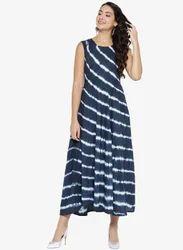 A-Line Stitched Blue Long Tie-Dye Kurta