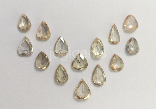 Pear Cut Champagne Rose Cut Diamond