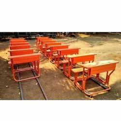 Metal School Bench and Desk