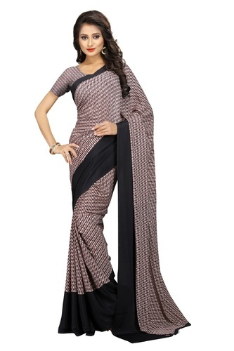 e167c06f7f The Fashion Outlets Silk Uniform Saree For Office Use Or Receptionist  Italiyan Crepe