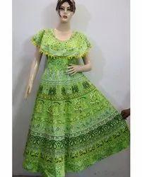 Ladies Green Jaipuri Printed Frock