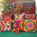 Indian Handmade Embroidered Suzani Cushion Cover With Pom Pom