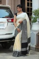 Party Wear Pure Linen Saree