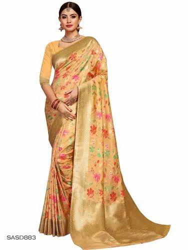 Light Orange Color Silk Saree