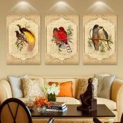 Multicolor Sparkle HD Digital Reprint Parrot MDF 3in1 Pieces Paintings