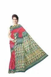 Maroon and Green Color Dupion Silk Bandhani Saree