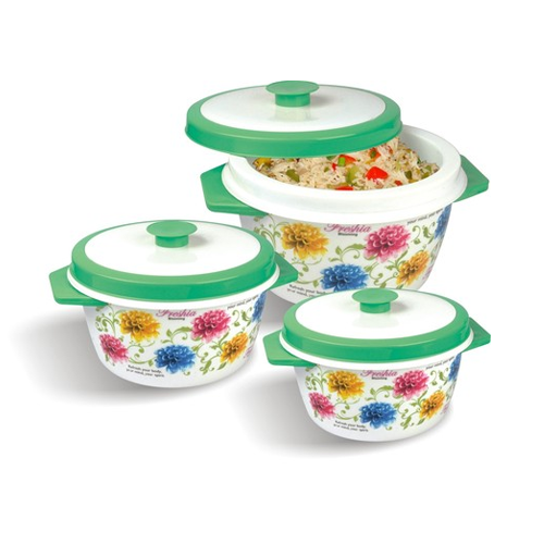Plastic Blossom Hot Pot 3 Piece Set
