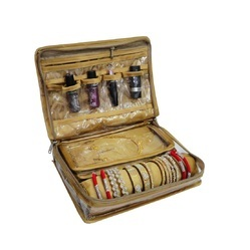 Zipper Beige Jewellery Makeup Travel Kit, For Household, Size/Dimension: Standard