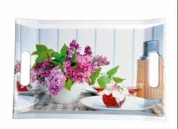 MEHUL CROCKERY Sharewell Melamine Pink Flower Square 3 Pcs Serving Tray