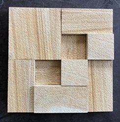 Stone Land Yellow Teakwood Sandstone Wall Cladding, Size: 1'*1', for Wall Tile