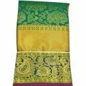 Party Wear Printed Yellow Green Designer Silk Saree, 6 M (with Blouse Piece), Blouse Size: 1 M