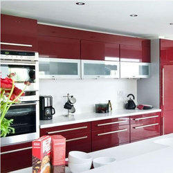Maroon And White High Gloss Modular Kitchen