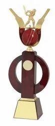 Batsman Wooden Cricket Trophy