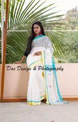 Sky Blue Casual Wear Ladies Pink Designer Silk Cotton Saree with Blouse Piece