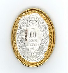 George V King Gold Polish Oval Silver Coin 10 gm