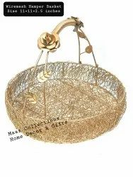 Gold Iron Metal Wire Baskets, For Home, Size: 11x11x2 Inches