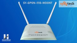 White 2.4ghz SYROTECH BSNL FTTH MODEM, 300mbps, Model Number: Sy-gpon-1110-wdont