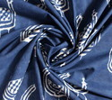 Animal Hand Block Dabu Print Cotton Blue Fabric