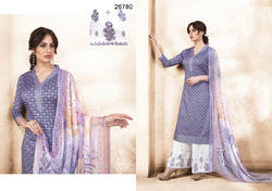 Party Wear Pure Silk Satin Embroidered Palazzo Salwar Kameez