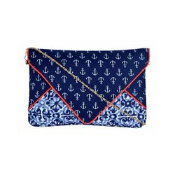 Azzra Blue Sling Cum Clutch Bag