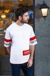 Profy Half  Sleeve Round Neck White Printed T-Shirts