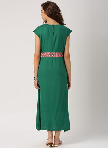 f627476fec18a3 Indusdiva Green Dresses Women Dress Shirt Fit And Flare Maxi Dress With Boat  Neck And Diamond