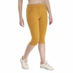 Yellow Ladies Cotton Lycra Capri, Size: M-XL