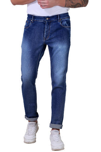 Men' s Slim Fit Poly-Dobby Jeans with China Wash